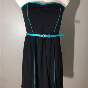 Xhilaration Strapless Belted Black Dress S